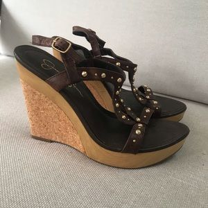 Jessica Simpson wedge brown stud shoes
